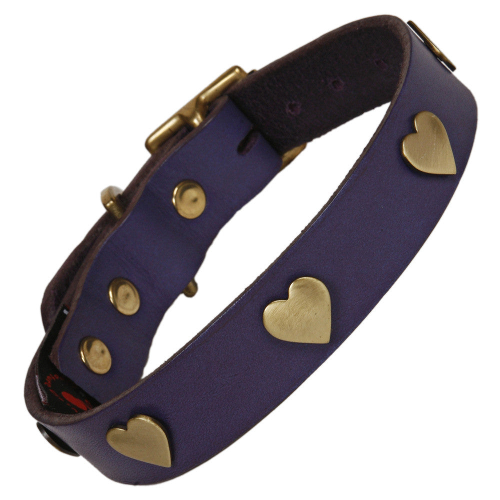 Creature Clothes Brass Heart Handmade Indigo Leather Dog Collar - PurrfectlyYappy