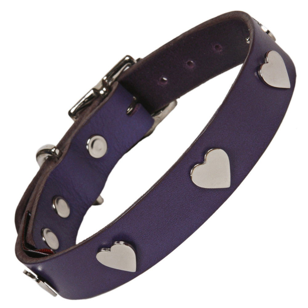 Creature Clothes Silver Heart Handmade Indigo Leather Dog Collar - PurrfectlyYappy