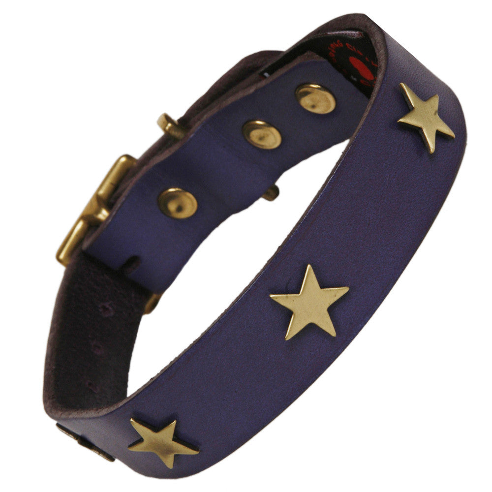 Creature Clothes Brass Star Handmade Indigo Leather Dog Collar - PurrfectlyYappy