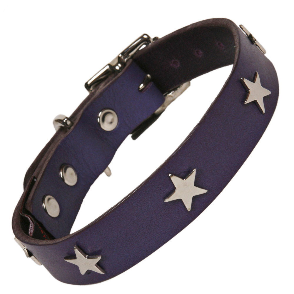 Creature Clothes Silver Star Handmade Indigo Leather Dog Collar - PurrfectlyYappy
