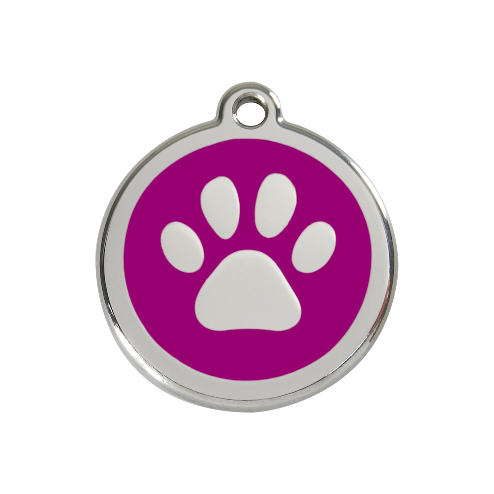 Red Dingo Enamel Pet Tag - Paw Tag in Purple - PurrfectlyYappy