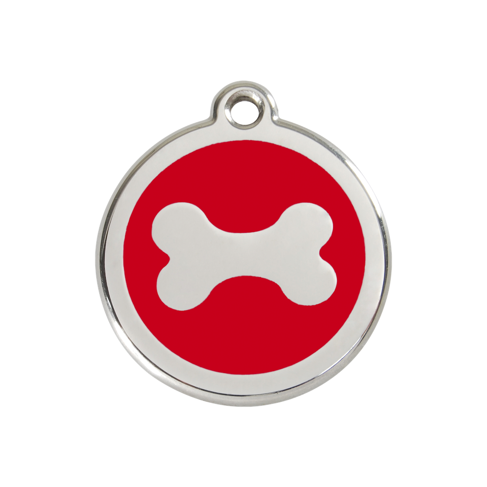 Red Dingo Enamel Pet Tag - Bone Tag in Red - PurrfectlyYappy
