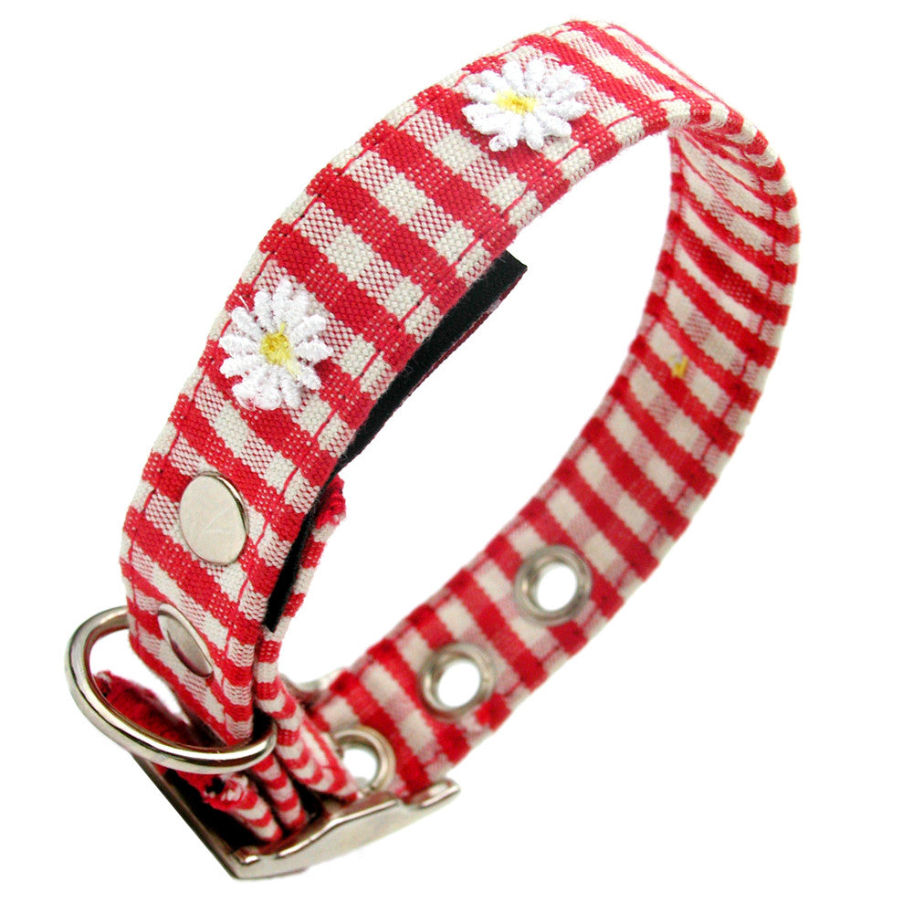Creature Clothes Red Gingham Daisy Dog Collar - PurrfectlyYappy