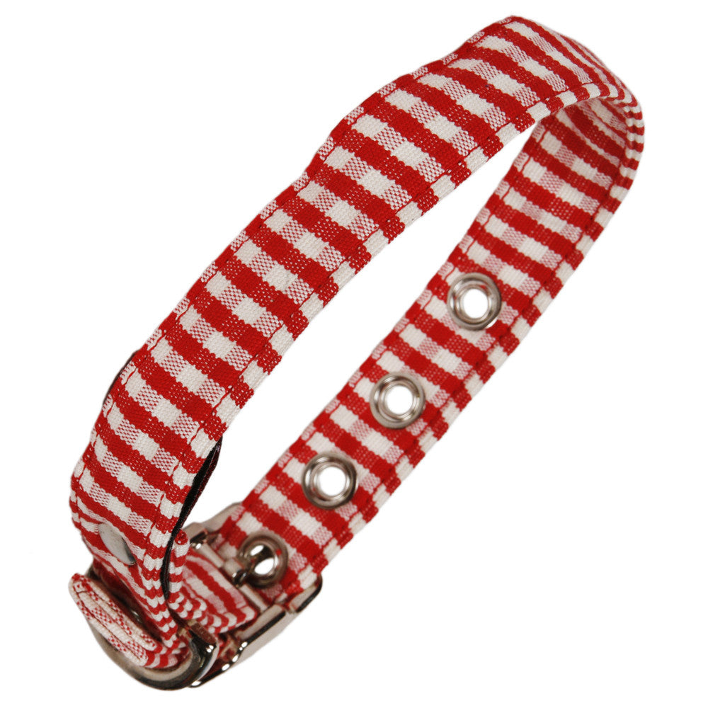 Creature Clothes Red Gingham Dog Collar - PurrfectlyYappy