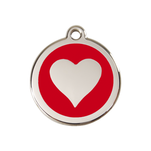 Red Dingo Enamel Pet Tag - Heart Tag in Red - PurrfectlyYappy