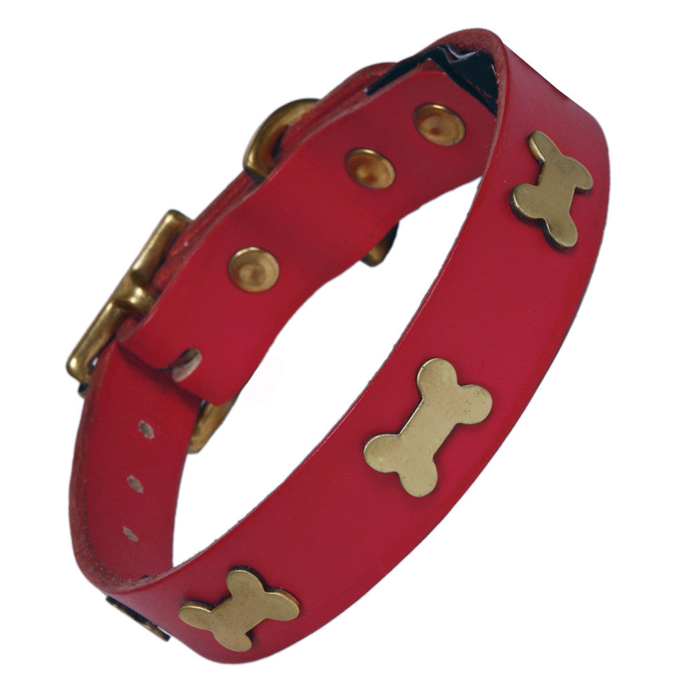 Creature Clothes Brass Bone Handmade Red Leather Dog Collar - PurrfectlyYappy