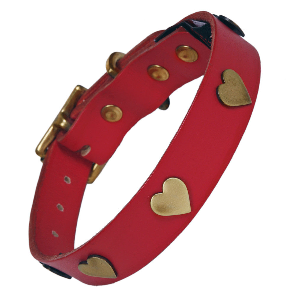 Creature Clothes Brass Heart Handmade Red Leather Dog Collar - PurrfectlyYappy
