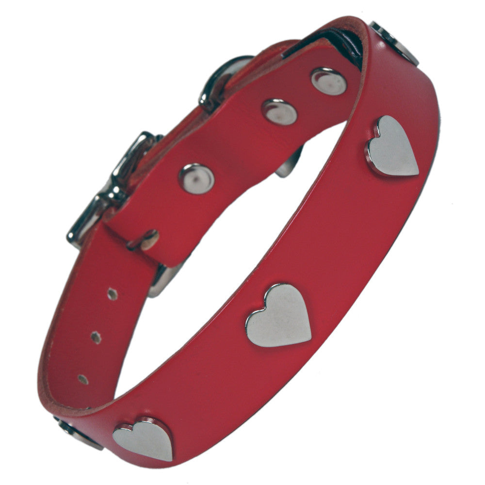 Creature Clothes Silver Heart Handmade Red Leather Dog Collar - PurrfectlyYappy