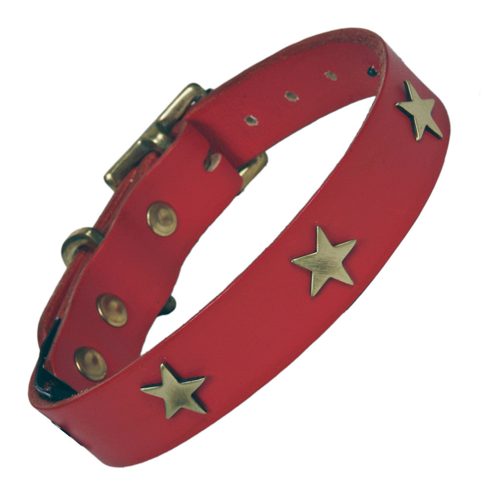 Creature Clothes Brass Star Handmade Red Leather Dog Collar - PurrfectlyYappy