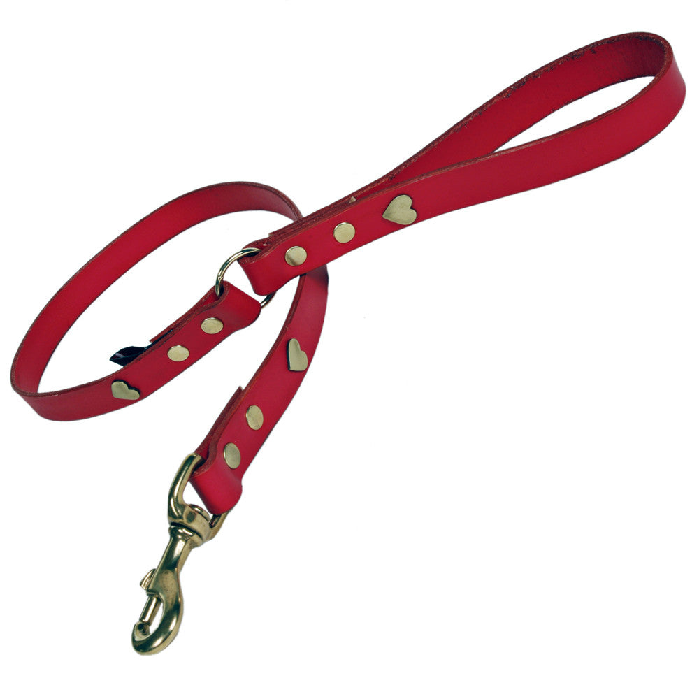 Creature Clothes Red Leather Dog Lead with Brass Heart Studs - PurrfectlyYappy