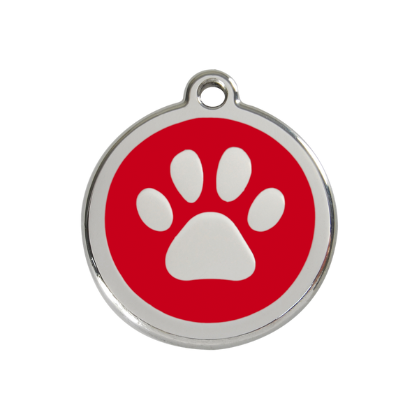 Red Dingo Enamel Pet Tag - Paw Tag in Red - PurrfectlyYappy