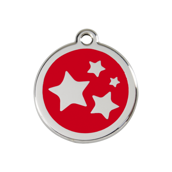 Red Dingo Enamel Pet Tag - Star Tag in Red - PurrfectlyYappy
