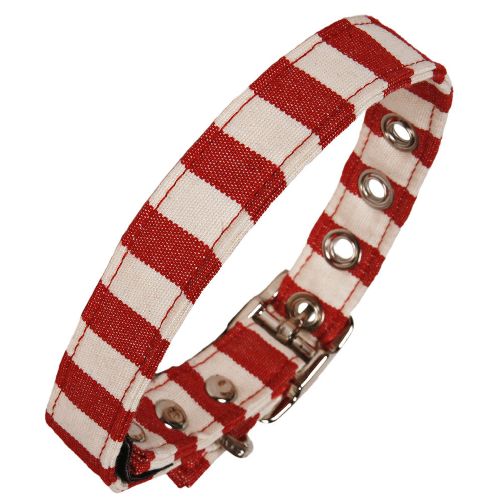 Creature Clothes Red and White Stripe Dog Collar - PurrfectlyYappy