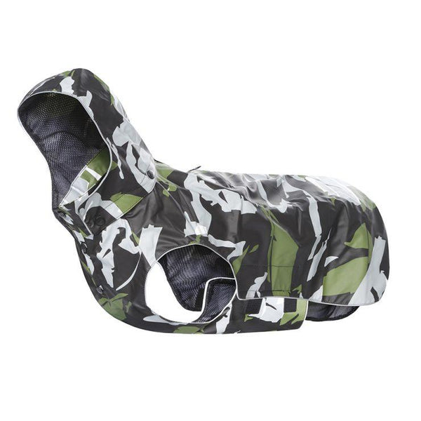 Rukka Pets Stream Raincoat in Green Camo - PurrfectlyYappy