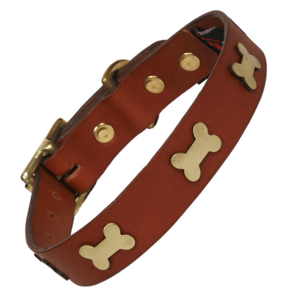 Creature Clothes Brass Bone Handmade Tan Leather Dog Collar - PurrfectlyYappy