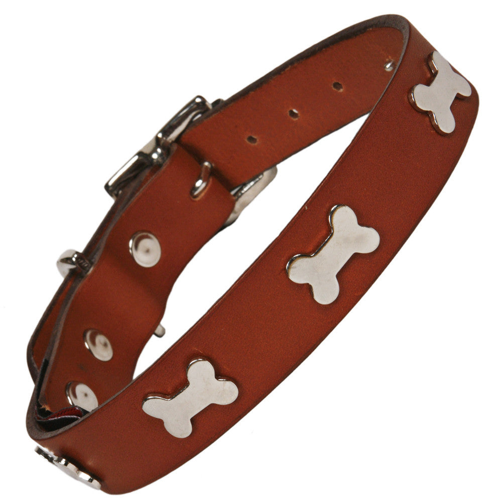 Creature Clothes Silver Bone Handmade Tan Leather Dog Collar - PurrfectlyYappy