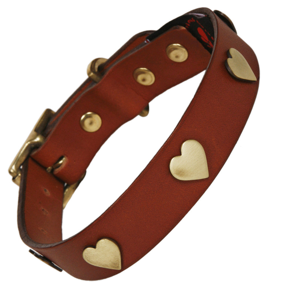 Creature Clothes Brass Heart Handmade Tan Leather Dog Collar - PurrfectlyYappy