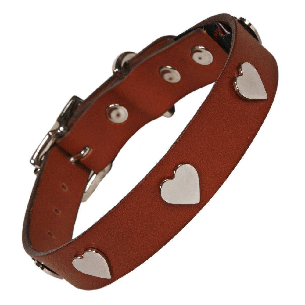 Creature Clothes Silver Heart Handmade Tan Leather Dog Collar - PurrfectlyYappy