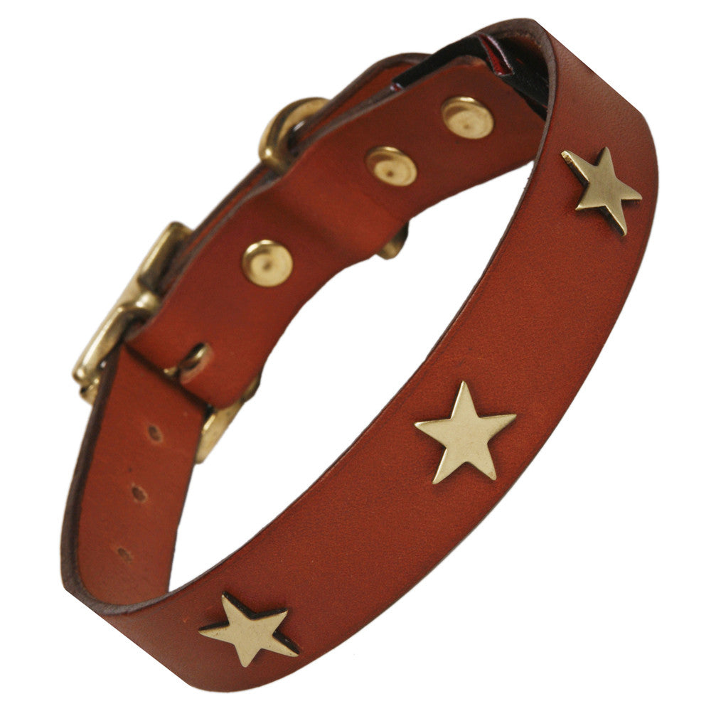 Creature Clothes Brass Star Handmade Tan Leather Dog Collar - PurrfectlyYappy