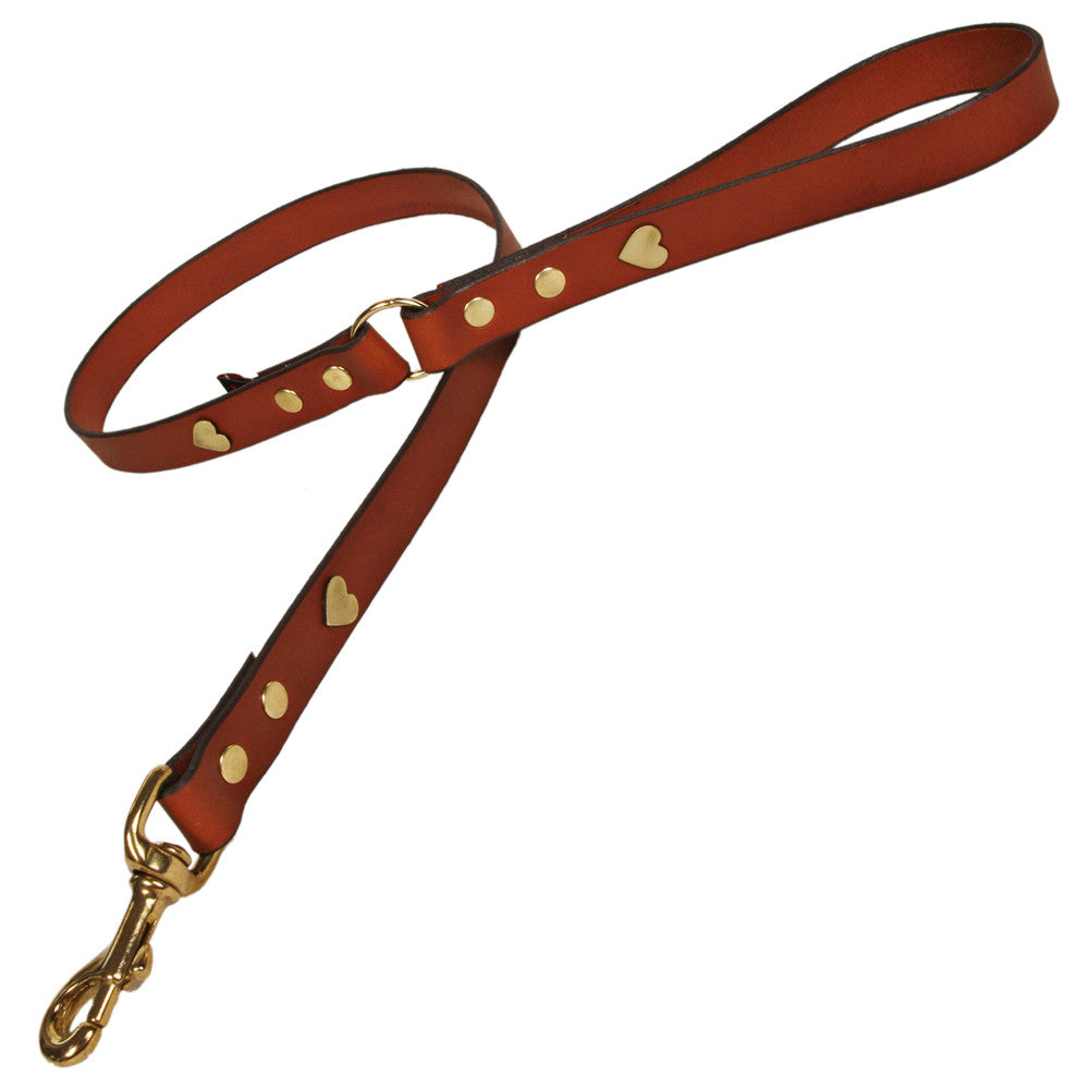 Creature Clothes Tan Leather Dog Lead with Brass Heart Studs - PurrfectlyYappy