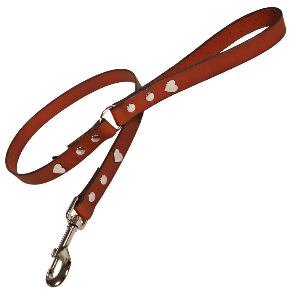 Creature Clothes Tan Leather Dog Lead with Silver Heart Studs - PurrfectlyYappy