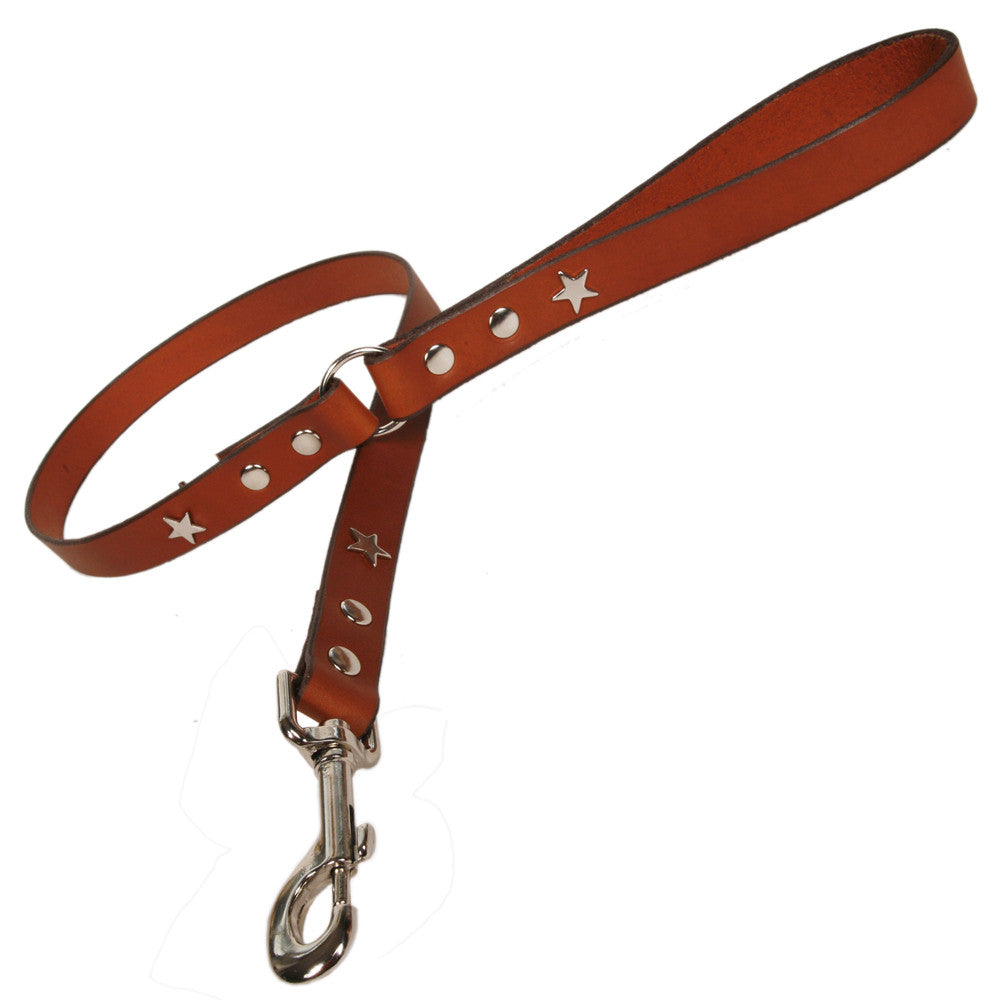 Creature Clothes Tan Leather Dog Lead with Silver Star Studs - PurrfectlyYappy