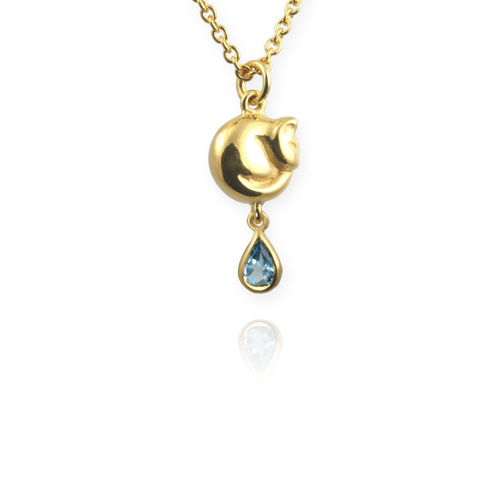 Jana Reinhardt Tiny Cat Necklace with Blue Topaz Drop - PurrfectlyYappy