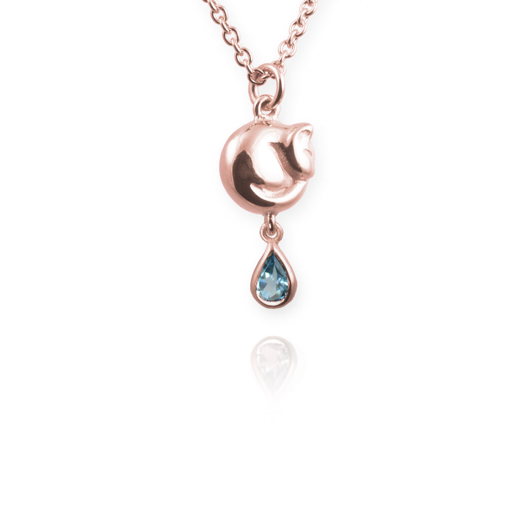 Jana Reinhardt Tiny Cat Necklace with Blue Topaz Drop