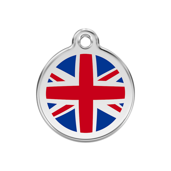 Red Dingo Enamel Pet Tag - Union Jack Tag in Red - PurrfectlyYappy