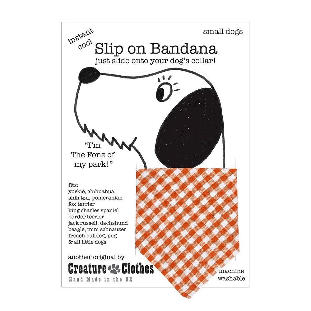 Creature Clothes Orange Gingham Slip-on Dog Bandana - PurrfectlyYappy
