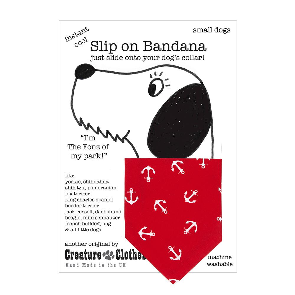 Creature Clothes Red Anchors Slip-on Dog Bandana - PurrfectlyYappy
