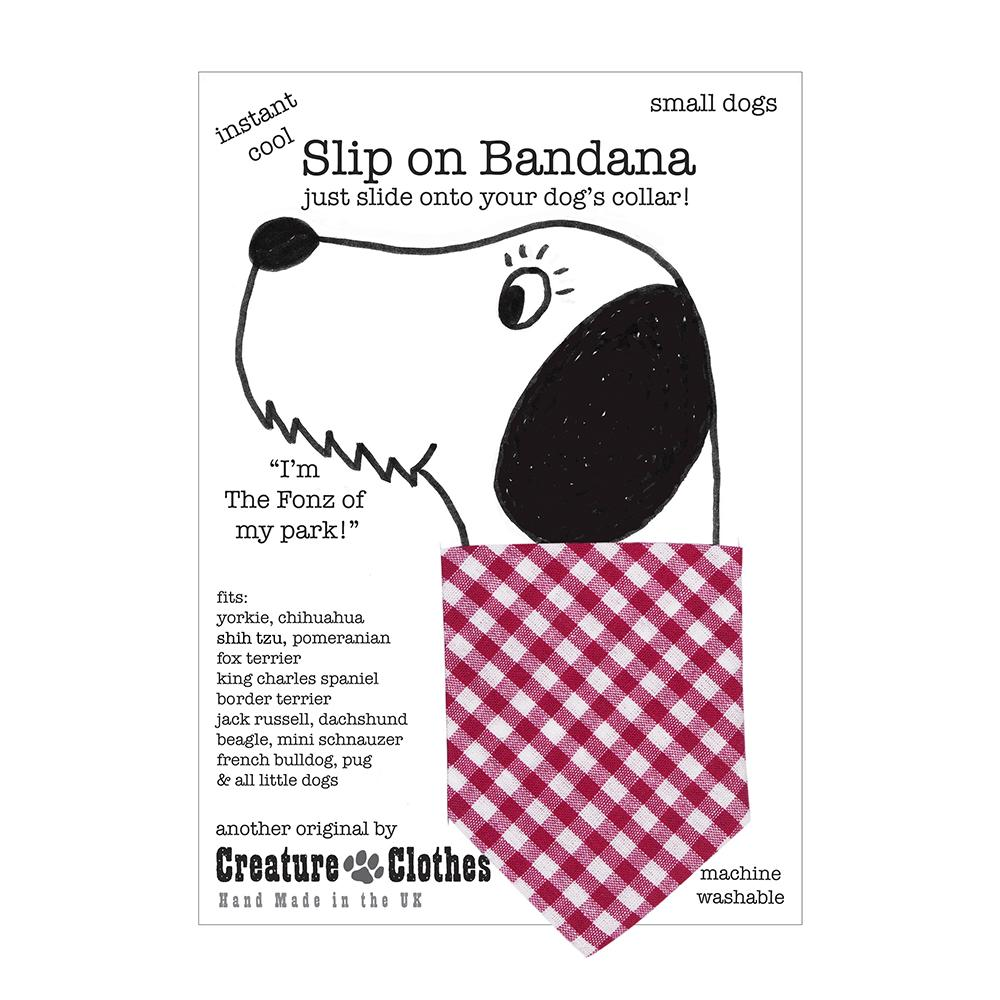 Creature Clothes Pink Gingham Slip-on Dog Bandana - PurrfectlyYappy