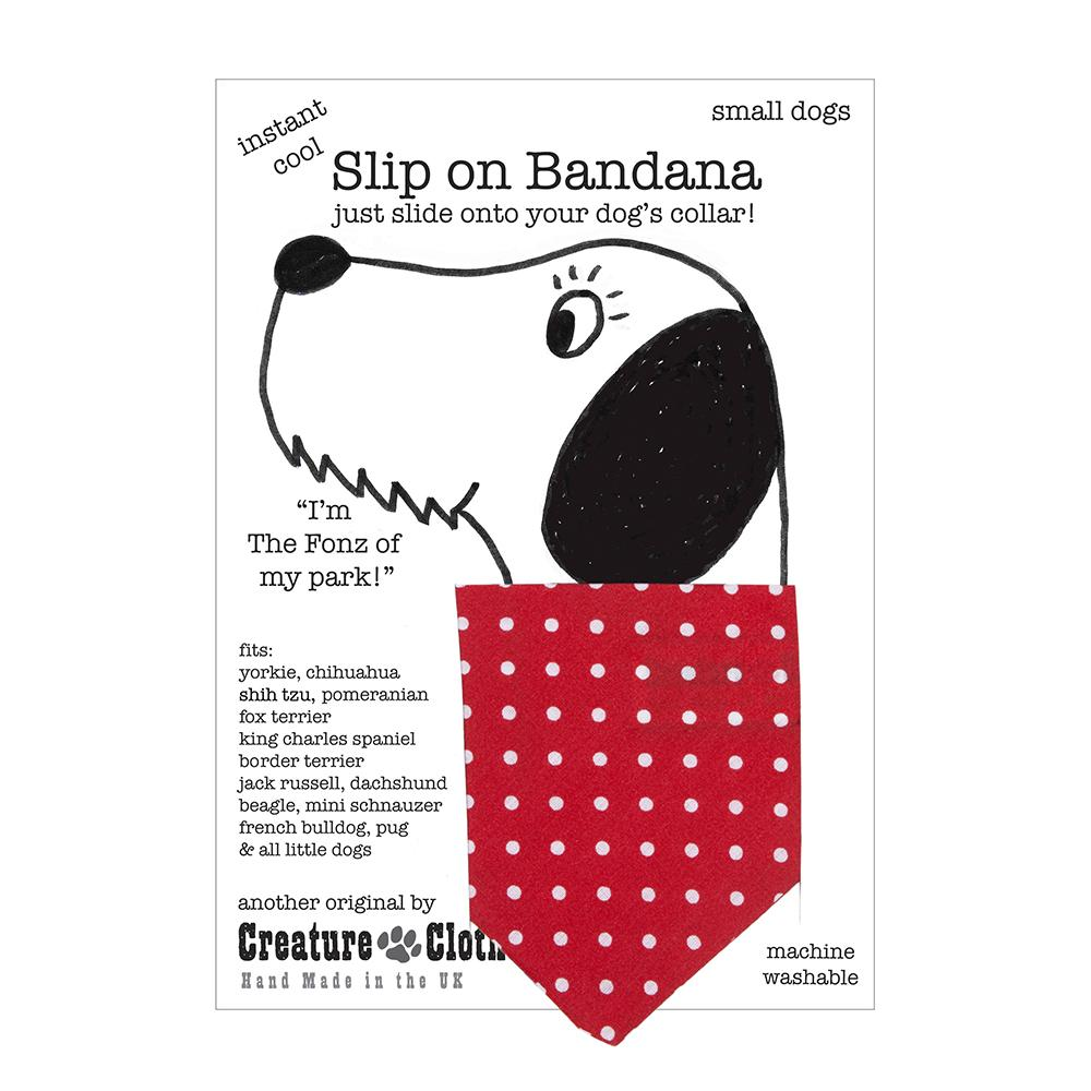 Creature Clothes Red Polka Dots Slip-on Dog Bandana - PurrfectlyYappy