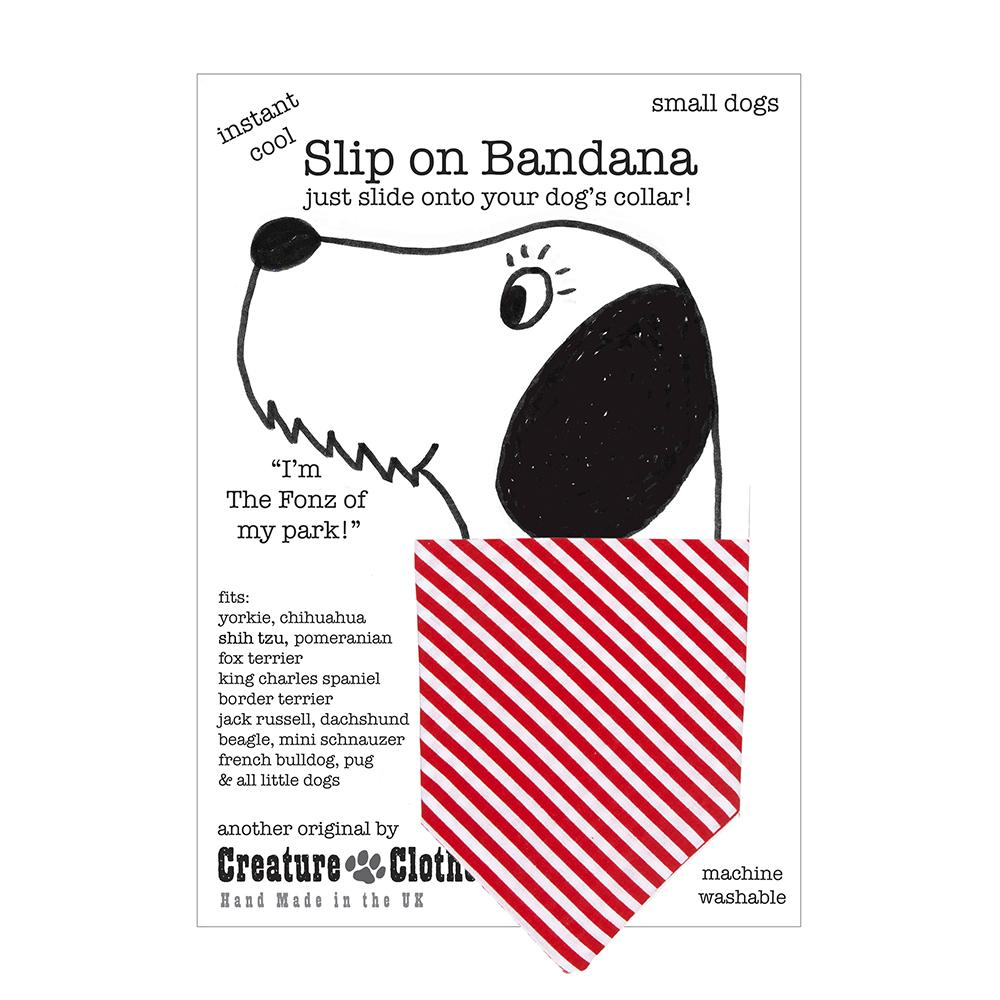 Creature Clothes Red Candy Stripe Slip-on Dog Bandana - PurrfectlyYappy