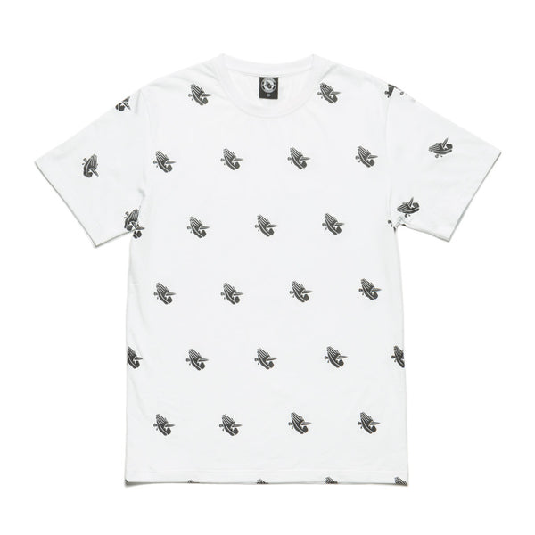 BFM WHITE ALLOVER LOGO TEE