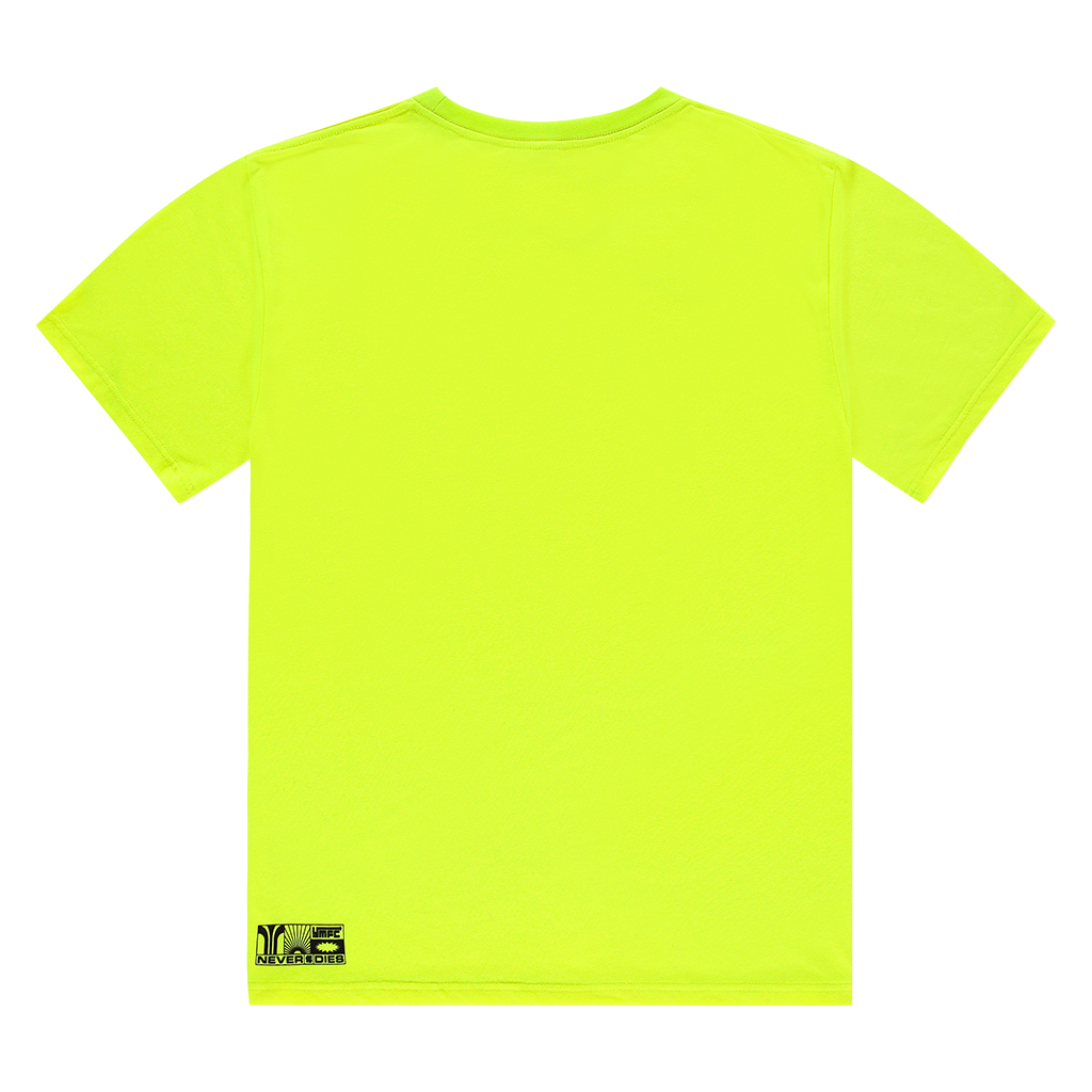 NEVER DIES NEON YELLOW LOGO TEE