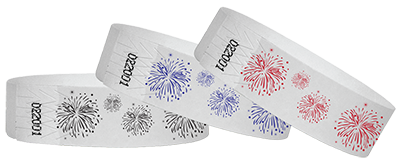 Wristbands with Fireworks for 4th of July events.