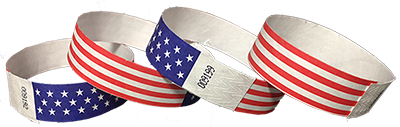 Tyvek wristbands with American Flag
