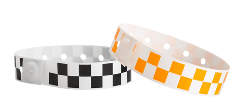 checker board style plastic wristbands.
