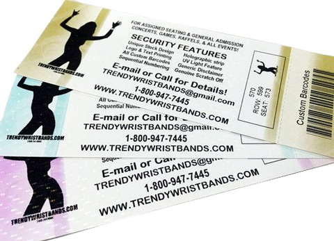 Thermal Tickets custom print available. Thermal is through out the ticket for extra security.