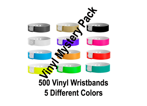 vinyl wristbands pack with 5 colors.