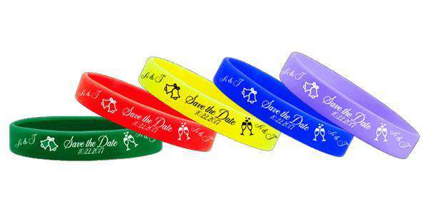 1/2 Inch Silicone Wedding Wristbands Save The Date