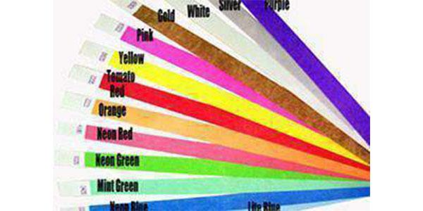 1/2 inch Tyvek Wristbands Solid Colors