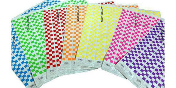 1inch Tyvek Paper Wristband Checkers