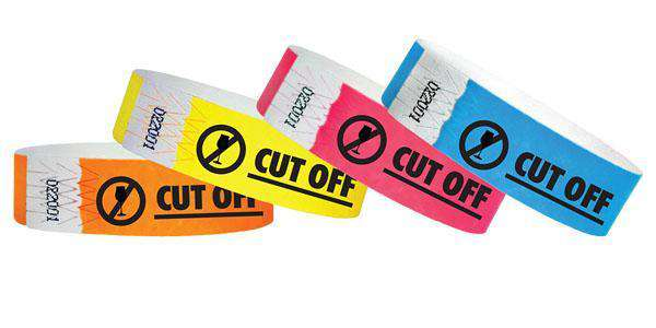 "3/4""  Tyvek Cut Off  Wristbands"