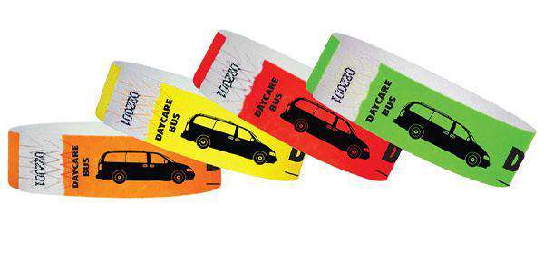 "3/4""  Tyvek Day Care Bus Wristbands"
