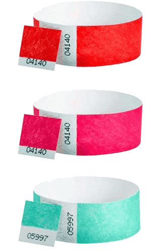 3/4 Tyvek Dual Number Wristbands