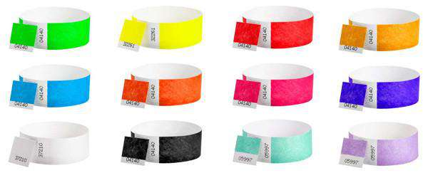 Great colors in stock for dual numbered wristbands.