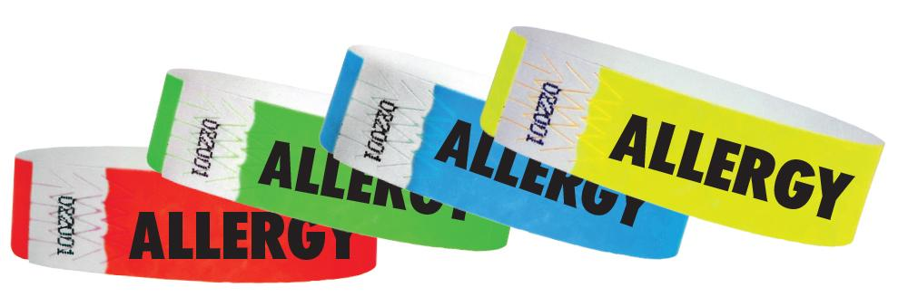 "3/4"" Medical Alert Allergy Tyvek Wristbands"