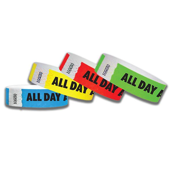 3/4  All Day Tyvek Wristbands